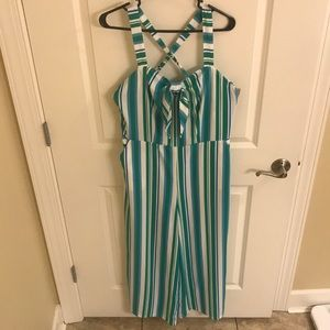 A New Day Blue White & Green Striped Jumpsuit